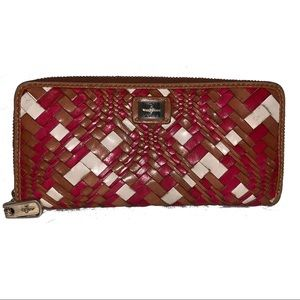 Cole Haan Woven Leather Wallet Red,Brown,Cream